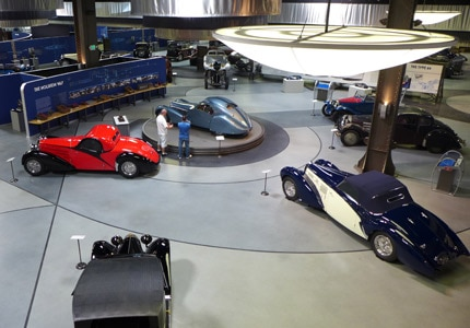 The Art of Bugatti exhibit at Mulin Automotive Museum in Oxnard, California