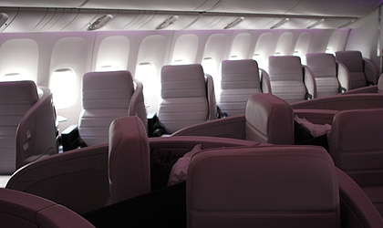 Herringbone seating in Air New Zealand's Business Premier allows for greater privacy among passengers