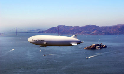 Airship Venture's Zeppelin NT airship over the San Francisco Bay, with the Golden Gate Bridge in the background