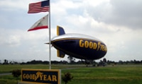 Goodyear's Spirit of America blimp moored at the airship base in Carson, CA