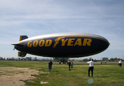 Passengers waiting to board the Goodyear Blimp