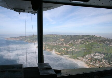 View of the California coastline from the Goodyear Blimp