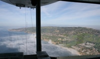 A view of the Southern California coast from the gondola windows of the Goodyear Blimp