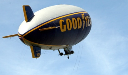 Goodyear's blimp, the Spirit of America, soaring high above the California coast