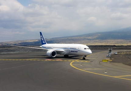 Plagued by problems from the outset, the Boeing 787 Dreamliner undergoes further testing at the Kona International Airport (KOA) in Hawaii