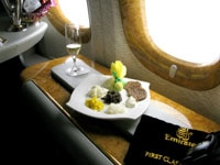 Gourmet dining in Emirates Airlines ' private first-class suite