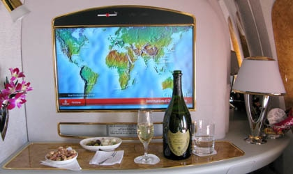 Passenger perspective from Emirates Airlines' first-class private suite