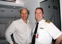 Alain Gayot and Qantas A380 Captain Peter Probert