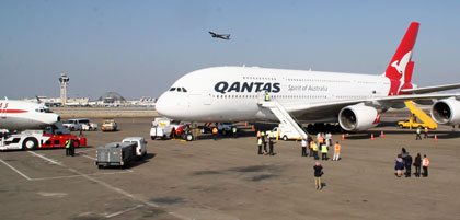The Qantas A380 aircraft lands at LAX airport after its inaugural flight to Los Angeles