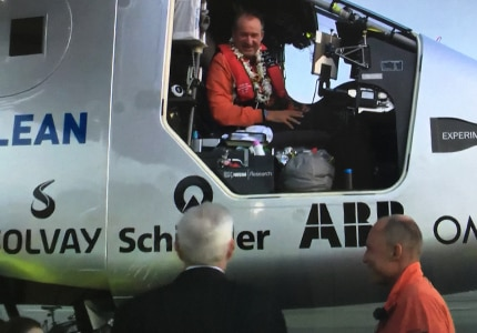André Borschberg in the cockpit of Solar Impulse 2 after landing at Kalaeloa Airport in Oahu, Hawaii