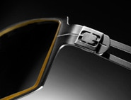 "A ""G"" logo detail on a pair of digital performance eyeglasses from GUNNAR Optiks"