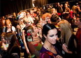 Models backstage at Montreal Fashion Week in Quebec, Canada
