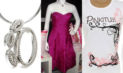 PiNKiTUDE's 14 karat white gold and diamond paw pendant, fuschia strapless dress by Carmen Marc Valvo and printed long-sleeved T shirt