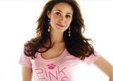 Actress and PiNKiTUDE spokesperson Emmy Rossum in a T shirt from the new line