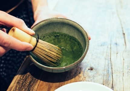 Matcha is a powdered form of delicate green tea leaves