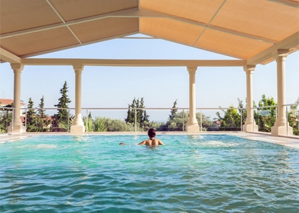 A pool with a view at the Natur-Med Thermal Springs and Health Resort in Turkey