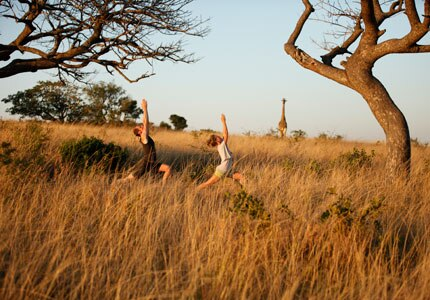 andBeyond's yoga escape includes a game drive to spot wildlife