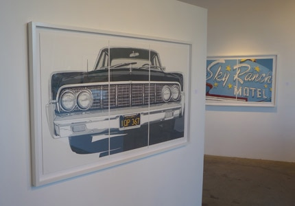 The Continental, a linocut by Dave Lefner at Bergamot Station in Santa Monica, California