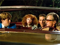 Devin Brochu, Emma Stone, Matthew McConaughey and Michael Douglas in Ghosts of Girlfriends Past