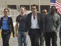 Zoe Saldana, Chris Evans, Jeffrey Dean Morgan, Columbus Short and Idris Elba in The Losers