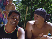 Raimana Van Bastolaer and Kelly Slater in The Ultimate Wave Tahiti 3D