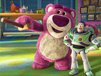 Lots-O'-Huggin'-Bear (voice of Ned Beatty) and Buzz Lightyear (voice of Tim Allen) in Toy Story 3