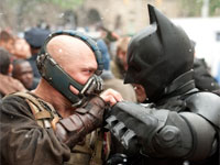 Tom Hardy and Christian Bale face off as Bane and Batman in The Dark Knight Rises