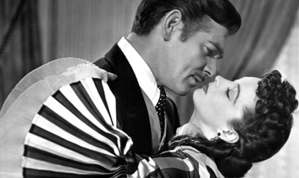 Clark Gable and Vivien Leigh in Gone with the Wind, one of our Top 10 Romantic Movies