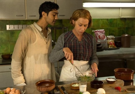 Manish Dayal and Helen Mirren in The Hundred-Foot Journey