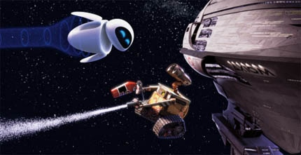 WALL-E tells the story of a space-age junk-collecting robot