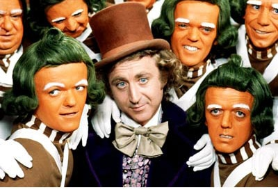 Gene Wilder and the Oompa Loompas in Willy Wonka and the Chocolate Factory