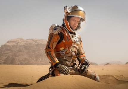Matt Damon plays a stranded astronaut in The Martian