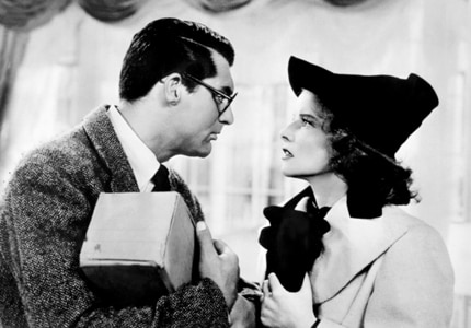 Cary Grant and Katharine Hepburn in Bringing up Baby, one GAYOT's choices for Top 10 Romantic Comedies