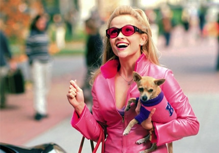 Reese Witherspoon as Elle Woods in Legally Blonde, one of GAYOT.com's picks for Top 10 Romantic Comedies