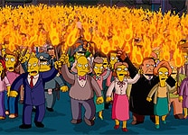 A mob gathers in The Simpsons Movie