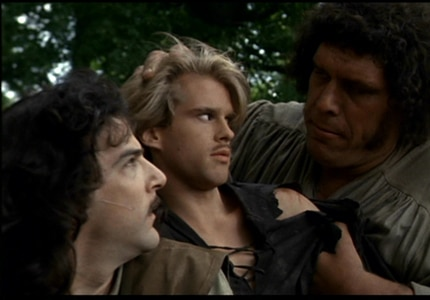 Mandy Patinkin, Cary Elwes, and André the Giant in The Princess Bride, one of GAYOT's Top 10 Romantic Comedies