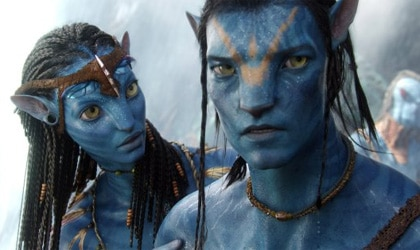 Zoe Saldana and Sam Worthington in Avatar