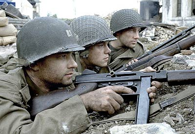 Tom Hanks, Matt Damon and and Edward Burns in Saving Private Ryan