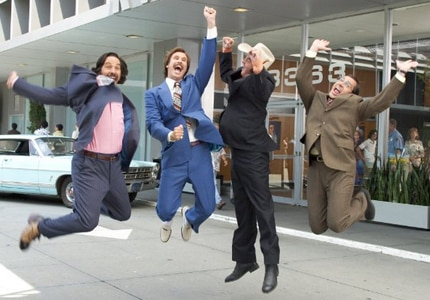 Paul Rudd, Will Ferrell, David Koechner and Steve Carell in Anchorman, one of GAYOT's Top 10 Comedies