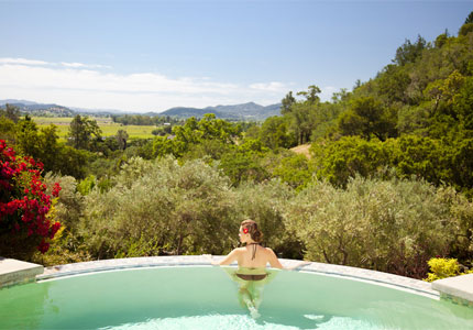 The infinity pool at Auberge Spa at Auberge du Soleil, one of GAYOT's Top 10 Spa Hotels in Napa/Sonoma