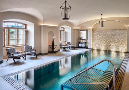The indoor pool at AVA Spa inside the Four Seasons Hotel Prague