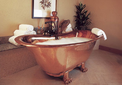 The signature copper tub at The Ritz-Carlton, Bachelor Gulch Spa