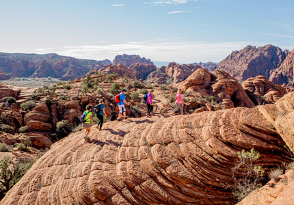 A hike with participants at Movara Fitness Resort in Ivins, Utah, one of GAYOT's Top 10 Destination Spas in the U.S.