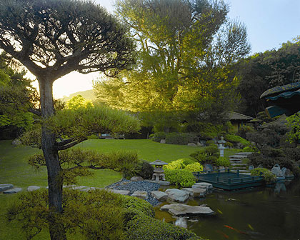 The koi pond at sunrise at Golden Door Spa