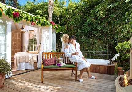 A couple's bungalow at The Spa at Estancia La Jolla in California