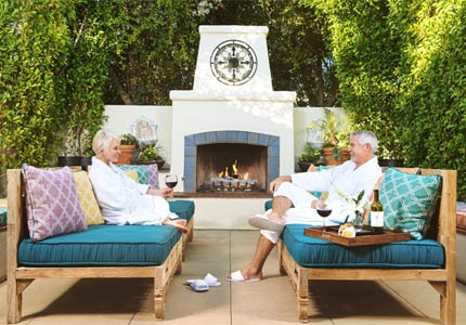 The outdoor relaxation lounge at The Spa at Estancia La Jolla in California