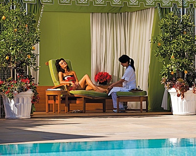 Get a poolside pedicure at the The Four Seasons Spa at Four Seasons Hotel Los Angeles at Beverly Hills