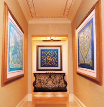 Framed Hermes scarves on the walls inside The Spa at The Grand Del Mar