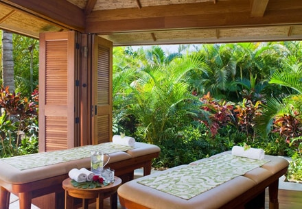 Couples treatment room at Anara Spa at Grand Hyatt Kauai Resort and Spa in Hawaii