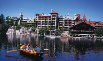 A family on the lake at Mohonk Mountain House